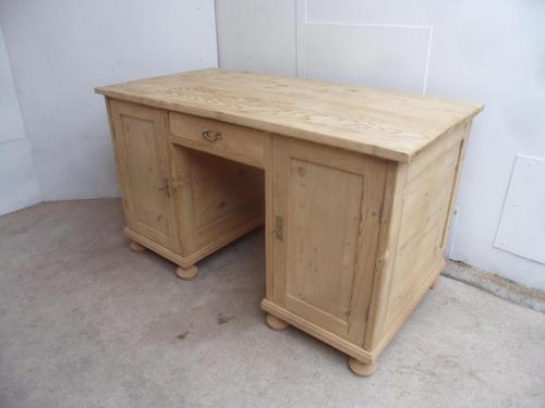Quality Massive Victorian Antique Pine Office Desk to wax or paint (1 of 9)