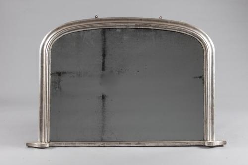 English Victorian Silvered Archtop Overmantle Mirror (1 of 6)