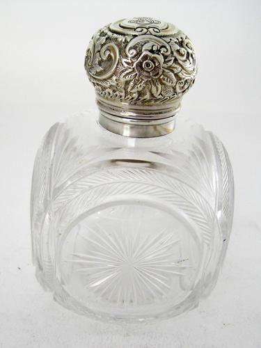 Unusual Large Square Shaped Late Victorian Silver Capped Perfume Bottle (1 of 8)