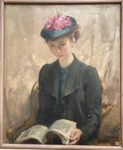 'Young lady wearing a floral hat' oil painting by Walter E Webster (1 of 1)