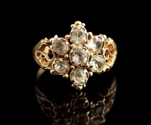 Antique Victorian Topaz Cluster Ring, 18ct Gold (1 of 11)