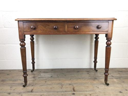 Victorian Mahogany Two Drawer Side Table (1 of 9)