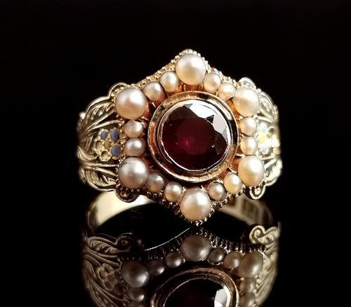 Antique Mourning Ring, 18ct Gold, Enamel, Pearl & Garnet - William IV (1 of 13)