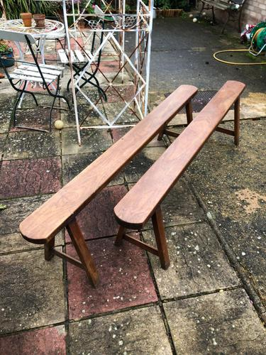 Pair of French Solid Oak Country Rustic Benches (1 of 6)