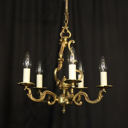 French Gilded Brass 5 Light Chandelier (1 of 10)