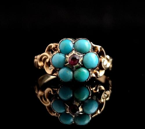 Antique Georgian mourning ring, Ruby and turquoise (1 of 10)