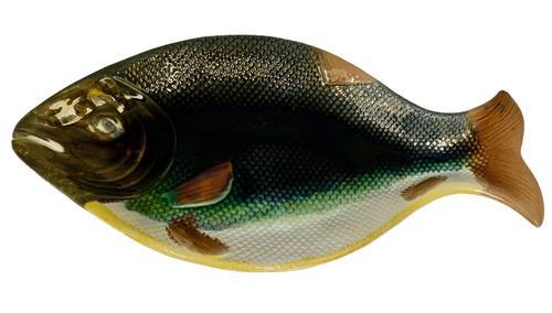 Large Victorian English Majolica Fish Serving Platter c.1875 (1 of 8)
