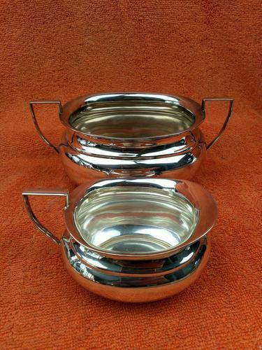 Art Deco Silver Plate EPNS Cream Jug & Sugar Bowl c.1930 (1 of 12)