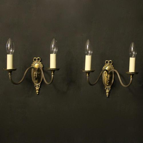 French Brass Twin Arm Antique Wall Lights (1 of 10)