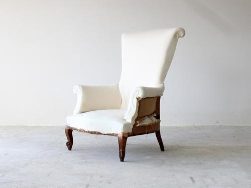 19th Century French Tall Scroll Back Armchair (1 of 8)