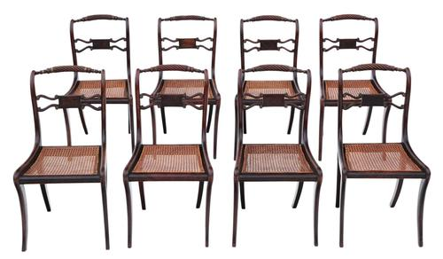 Set of 8 Regency faux rosewood dining chairs 19th Century (1 of 7)