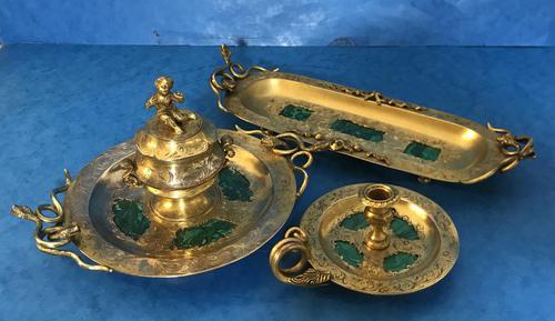 Victorian Gilt Brass Malachite Stationary Desk Set (1 of 17)