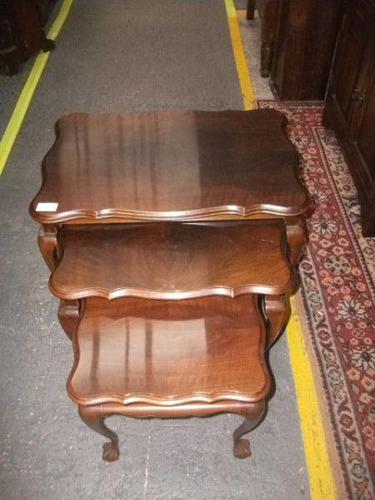 Nest of Three Mahogany Ball & Claw Tables (1 of 2)