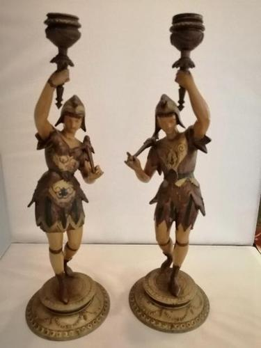 A pair of unusual 19th century cold painted figures of jesters (1 of 18)