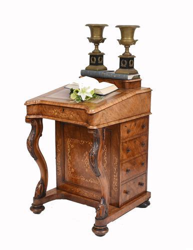 Victorian Davenport Desk Walnut Inlay c.1860 (1 of 14)