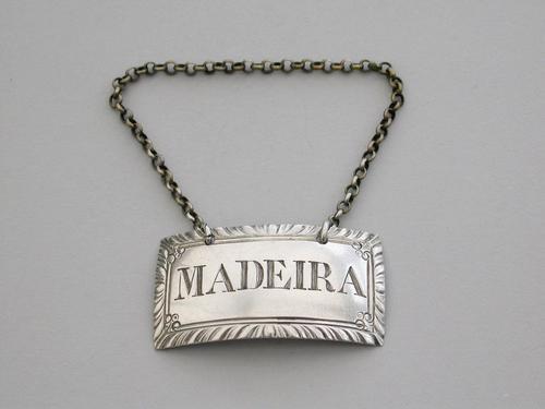 George II Silver Wine Label 'Madeira' by Richard Binley, London c.1760 (1 of 7)