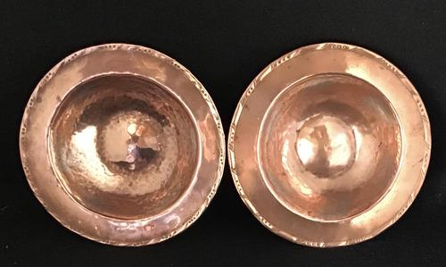 Pair of Planished Copper & Silvered Dishes by Hugh Wallis (1 of 5)