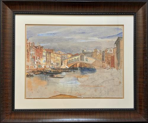 Large Early 1900s Venetian Venice Landscape Watercolour Study Sketch Painting (1 of 14)