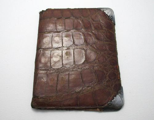 Victorian 1896 Solid Sterling Silver Mounted Crocodile Skin Leather Antique Wallet Purse Case. English Hallmarked (1 of 5)