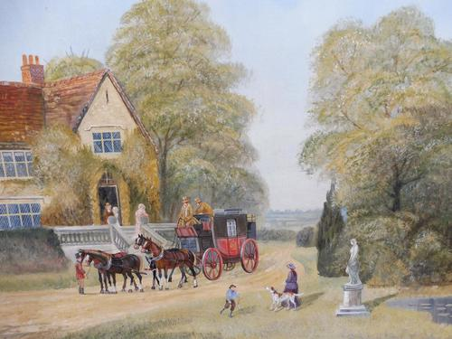 Large oil on canvas Old fashioned  view  Listed artist Richard Temple (1 of 10)