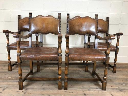 Set of Four Antique Leather Armchairs (1 of 16)
