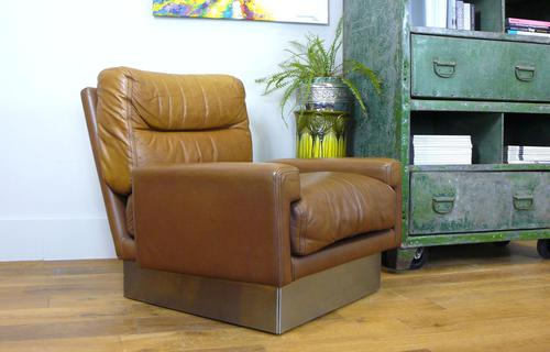 Vintage 1970s Leather & Brushed Steel Armchair by Roche Bobois (1 of 13)