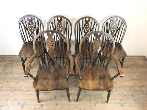 Set of Six 20th Century Wheelback Chairs including Two Carvers (1 of 20)