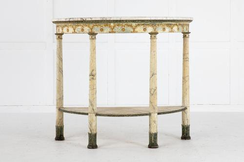 18th Century Italian Demilune Console Table with Marble Top (1 of 6)