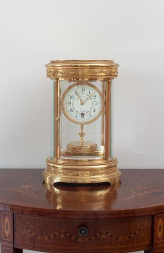 French Claude Grivolas Oval Cased 400 Day Torsion Mantle Clock c.1900 (1 of 8)