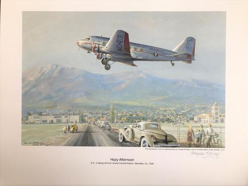 Original lithograph 'Hazy afternoon. D.C.2 taking off from Grand Central Airport, Glendale, Ca. By Douglas Ettridge 1927-2009. Signed and numbered 106/500 (1 of 2)