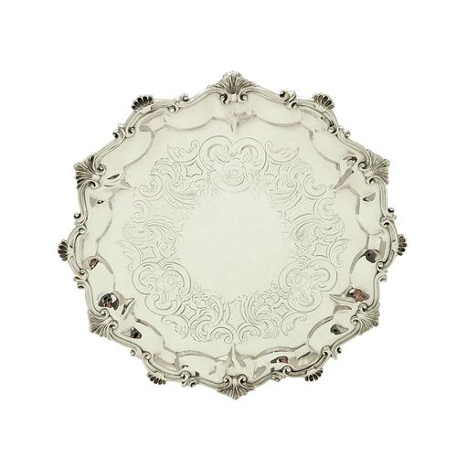 """Antique Victorian Sterling Silver 9"""" Tray 1854 (1 of 9)"""