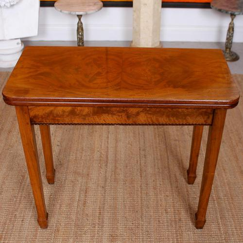Writing Table 19th Century Flamed Mahogany Folding Card Console Table (1 of 12)