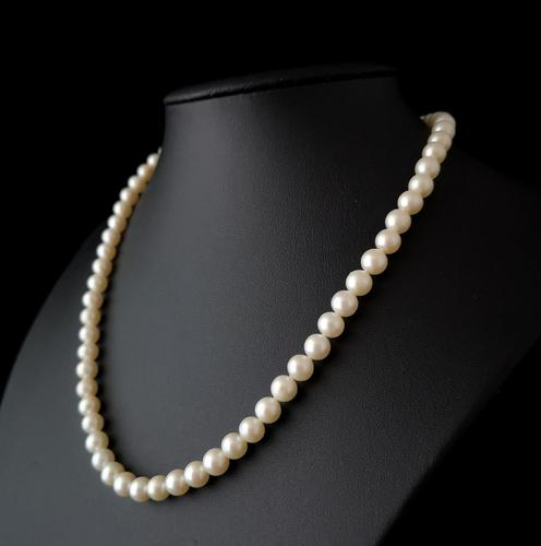 Vintage 1940s Cultured Pearl necklace, 14k gold (1 of 11)