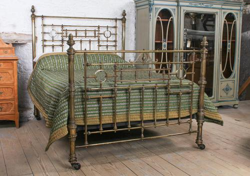 Handsome Victorian All Naturally Aged Brass King Size Bed (1 of 10)