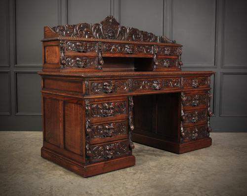 Carved Oak Pedestal Desk (1 of 19)