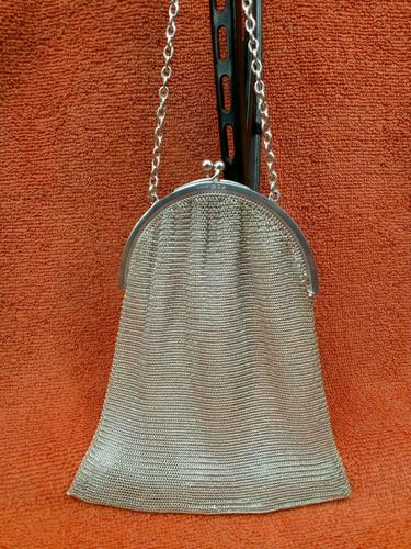 Antique Sterling Silver Hallmarked Art Deco Chain Mail Bag Purse 1923 London A M & M Ltd (1 of 12)