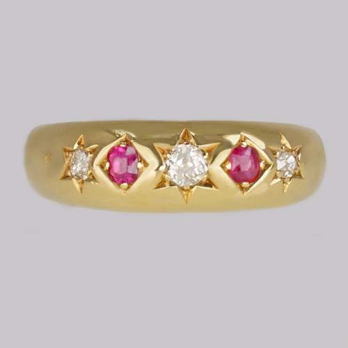 Victorian Diamond & Ruby Gypsy Ring Antique 18ct Gold Hallmarked London 1888 (1 of 10)