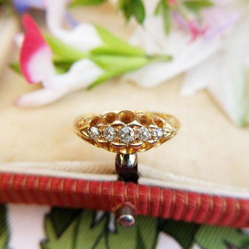 Edwardian 18ct Yellow Gold Five Old Cut Diamond Ring, Antique 1905-1906 (1 of 8)