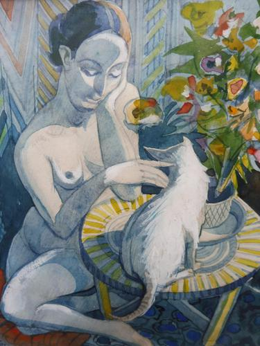Watercolour Nude with Cat Listed Artist James Gorman (1 of 14)