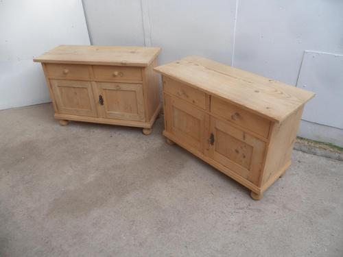 Low & Wide Pair of Antique Pine Bedside Cabinets / Sofa Tables to wax / paint (1 of 7)