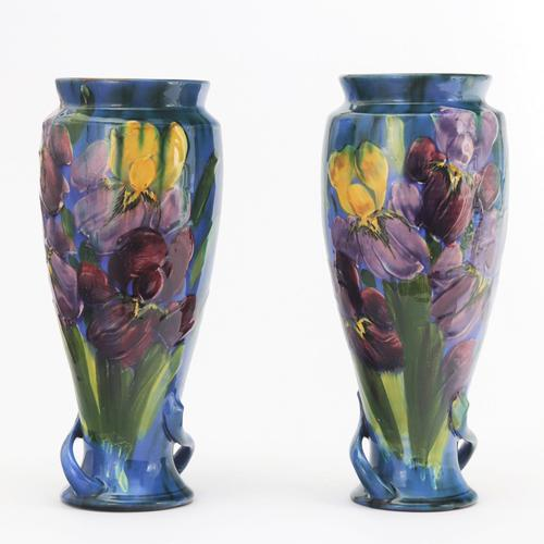 Torquay Pottery Tall Pair of Faience Vases by Lemon & Crute c1920 (1 of 9)