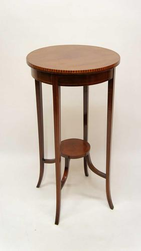 Edwardian Two Tier Inlaid Mahogany Torchiere Plant Stand (1 of 13)