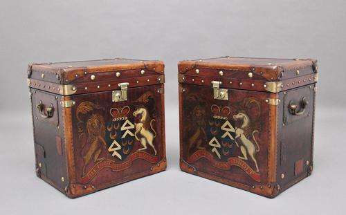 Pair of Early 20th Century Leather Bound & Painted ex Army Trunks (1 of 10)