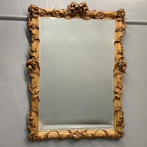 Large Carved Wood Overmantle Mirror (1 of 9)