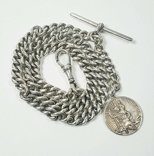Beautiful Solid Silver Henry Allday Double Link Albert Chain & T BAR (1 of 12)