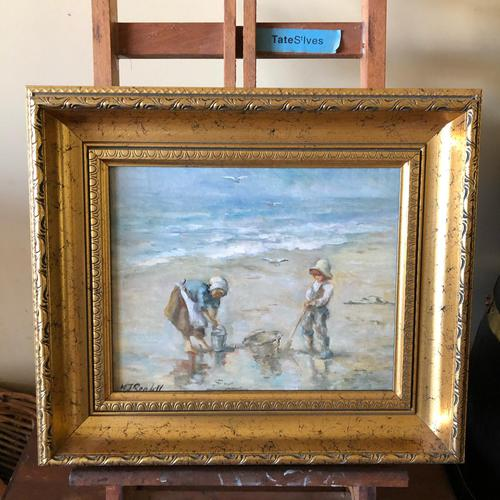 M J Rendall 20th Century Shell Pickers Oil Painting (1 of 5)