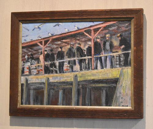 Newlyn Fish Market Oil Painting by Marjorie Mort (1906-1988) (1 of 5)