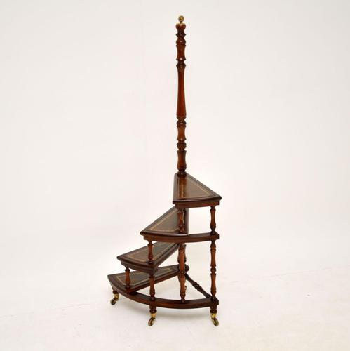 Antique Mahogany & Leather Spiral Library Steps (1 of 10)