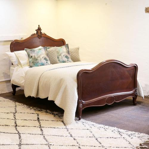 Understated Louis XV Dark Walnut Antique Bed (1 of 6)