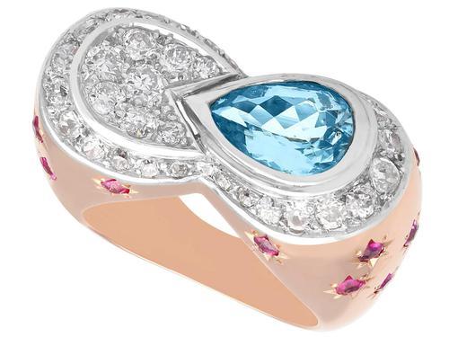 1.36 ct Aquamarine, 0.78 ct Diamond and 0.50 ct Ruby, 18ct Rose Gold Dress Ring - Vintage Circa 1950 (1 of 9)